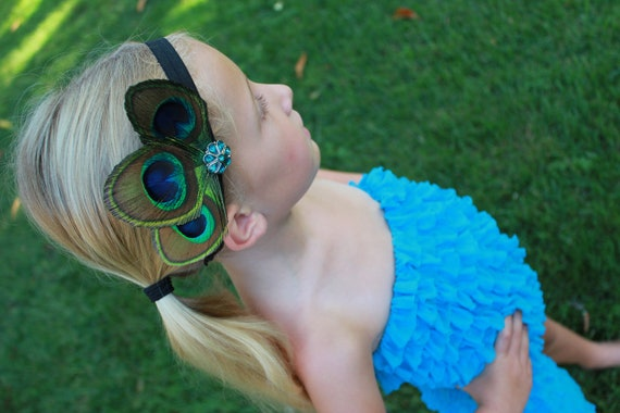 Peacock Feather and Turquoise Rhinestone Headband or clip for Infant, Toddler, Girl or Adult