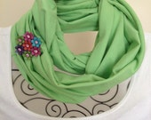 Light green recycled/upcycled jersey t shirt tube/nomad scarf with a multicolor flower/rhinestone brooch/jewelry