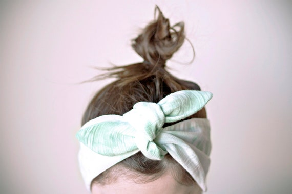 SALE indian cotton fabric, dyed, white & pale green headband