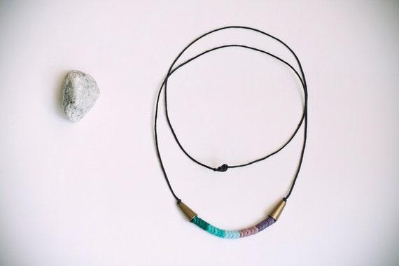 Dark green, sea green, pale blue, lilac & purple glass czech trade beads, long necklace.
