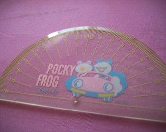 Soundy Ruler. Pocky Frog. Vintage Kawaii Japanese Stationery. 1980s