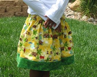 Sale! AFRICA Animals Twirl Skirt... size 5 / 6, ready to ship... Uganda, Ethiopia, Ghana