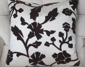 Velvet Floral Pillow Cover-Brown Damask Decorative Throw Pillow Cover 16x16