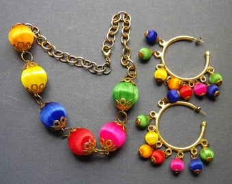 """Matching """"Color-Ball"""" Necklace and Pierced Earrings"""