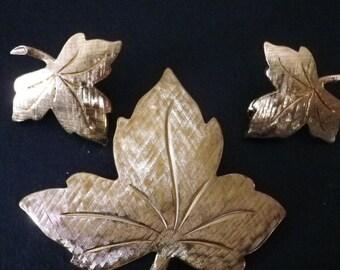 Vintage Monet Goldtone Leaf Pin and Earring Set