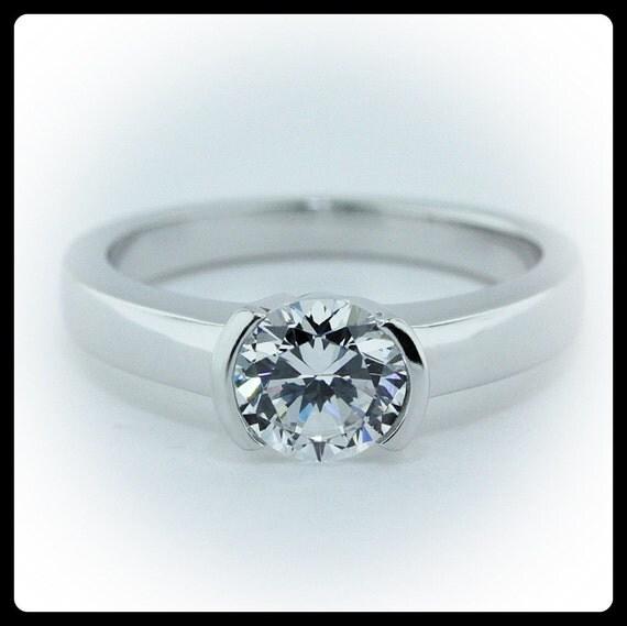 Moissanite Solitaire Engagement Ring 14k Gold Ring Name Modern