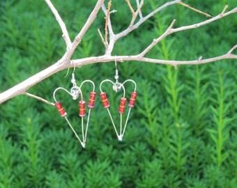 Large Red Resistor Heart Earrings