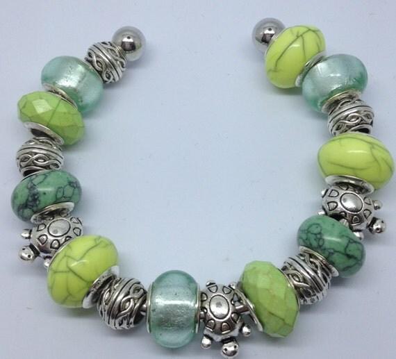 European style, bracelet, turtle, green, silver, charm bracelet
