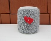 Red heart Mug Cozy, Cup Cosy, Mug Warmer knitted, grey color