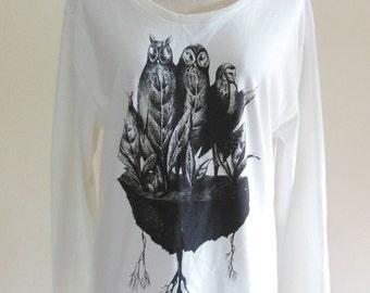 Owl Tshirt Owl Happy Funny Shirt Teen Shirt Fashion Art Animal TShirt Women TShirt Sweater Long Sleeved White Sweatshirt Screen Print Size L