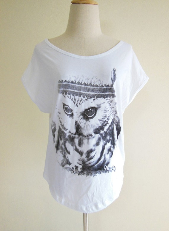 Baby Owl Indian Cute Animal Style Bat Sleeve Women Shirt White Short Sleeve Screen Print Size M