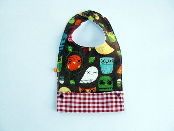 pocket bib for baby and toddler retro owls
