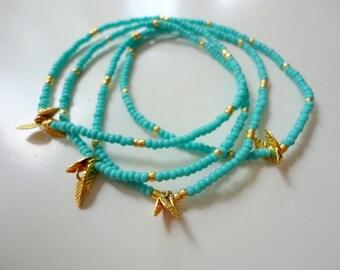 Turquoise Beaded Bracelet with Tiny Gold Leaves - Friendship Beadwork Bracelet