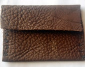 Hand-stitched Leather Credit / Business Card Pouch - Brown