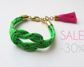 SALE Neon green knot rope bracelet with tassel charm
