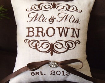 Mr. & Mrs. Personalized Ring Bearer Pillow I (RB101)