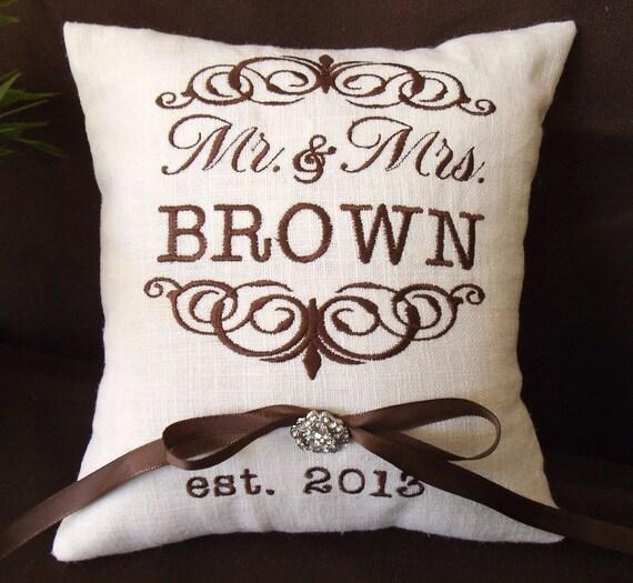 Mr. & Mrs. Personalized Ring Bearer Pillow I (RB101)
