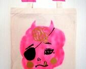 Tote bag - FRAGILE (bright pink)