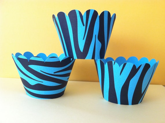 CLEARANCE SALE Ready to ship 12 Blue Zebra Cupcake Wrappers