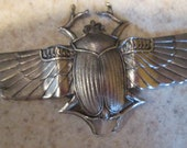 Silver Colored Brass Scarab or Beetle with Wings Open