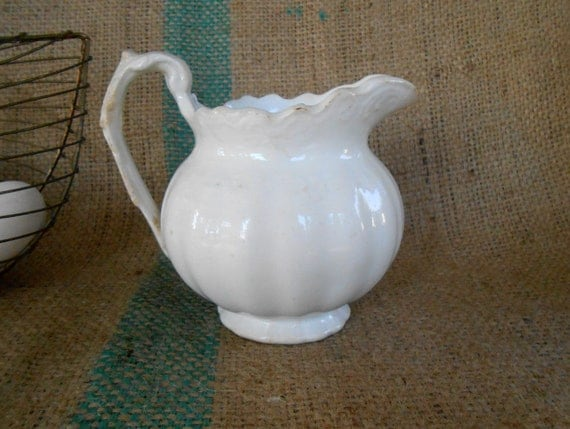 Antique Creamy White Ornate and Chippy Small Ironstone Milk Pitcher by East Palestine Pottery Co. Ohio