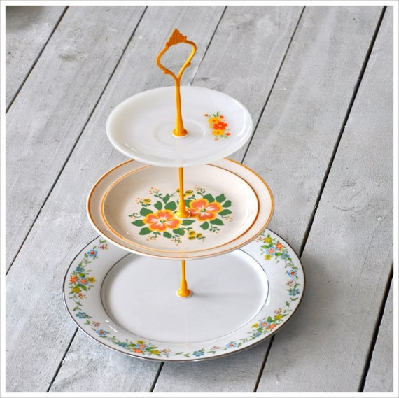 Meadowsweet: 3 Tier Cake Stand in Coral, Cream, White, Yellow, Orange, Green
