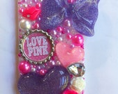 Pink and purple Victorias Secret iPhone 5 bling case