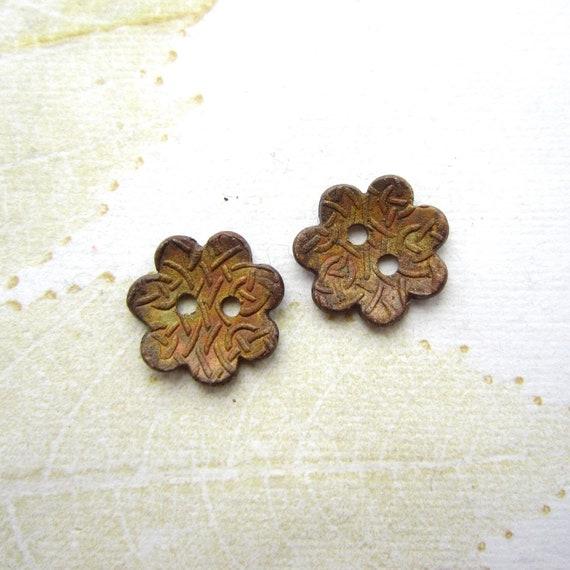 Rustic patina bronze saucer buttons, Handmade buttons, flower button, button closure, - 1 PAIR