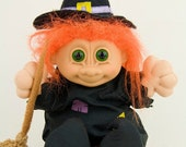 Vintage - Lovely and cute  Witch Troll Russ - 1980s - made in China - Halloween gift