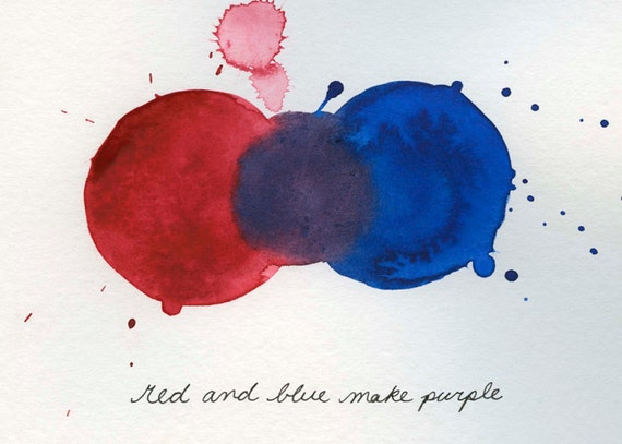 Mixing Colors Red and Blue make Purple Print from Original
