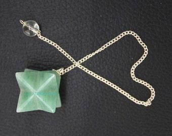 New Healing Parrot Green Aventurian Star pendulum With Crystal Pagan ET A6/2