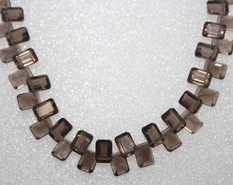 Natural AAA Quality Smoky Quartz 5X7mm Cut Octagon Gemstone Beads 7 Inches SA005