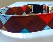 "Boy Dog Collar - Argyle Dog Collar - Multi Argyle Brown, Blue, Orange & Yellow - ""Preston""-NO EXTRA CHARGE for color"