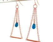 Copper Chain Earrings - Tube Earrings - Drop Earrings - Blue Glass Teardrop Earrings - Geometric Earrings - Copper Earrings