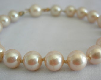 Individually Hand Knotted Faux Pearl Bracelet with Hidden Clasp - Unsigned - Vintage