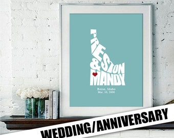 Wedding or Anniversary Gift Poster, State Map Print, Bride and Groom Names, Date and Place, Bridal Shower Gift, Personalized Gifts