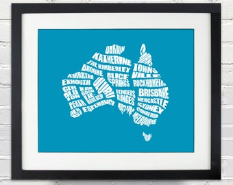Australia Word Map - A typographic word map of CIties of Australia, Home Decor, Australian Map, Many Colors and SIzes, Moving Away Gift,