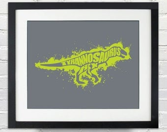 Tyrannosaurus Rex Ink Splatter Silhouette Poster - Great for a Child's Bedroom
