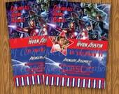 Avengers Theme Birthday Party Photo Invitations