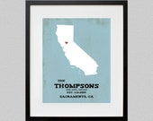 California  - Rustic Style Personalized State Map Art Print - 8.5x11 - also available in 13x19 and 5.5x8.5 - see listing details