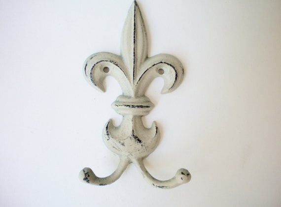 Chic Metal Wall Hook Fluer de Lis French Farm House style. Double Hook Treasury List