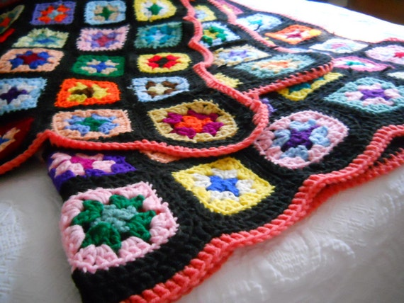 Vintage Black Multicolor Multi Color Granny Square Afghan Throw Blanket