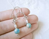 Dangle Earrings, Dyed Imperial Jasper (Aqua) with Freshwater Pearls