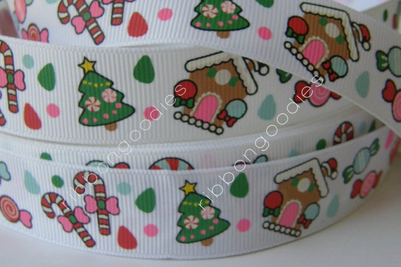 7/8 CHRISTMAS Tree & Sweet Treats Grosgrain Ribbon by the yard Ribbon for Hair Bow Making supplies yrds yds yd ribbon