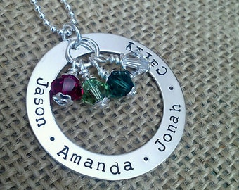 Personalized Mom Necklace, Mother Necklace, Family Necklace, Silver Washer Swarvoski Crystal Birthstones by Stamped Evermore