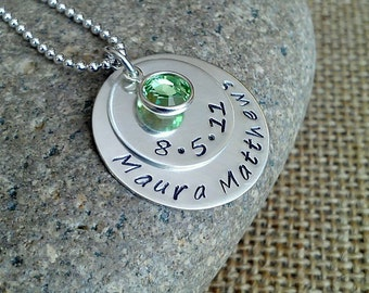 Mom Necklace, New Mom Necklace, Grandma Necklace, Custom Name Date Necklace, Sterling Silver, Stamped Evermore
