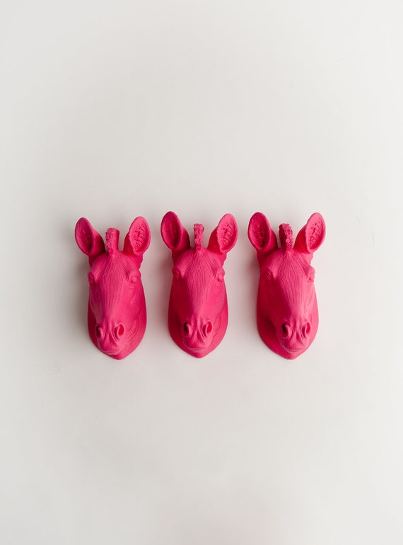 The Dahlias - Set of 3 Pink Mini Resin Zebra Heads- Resin Pink Faux Taxidermy- Chic & Trendy