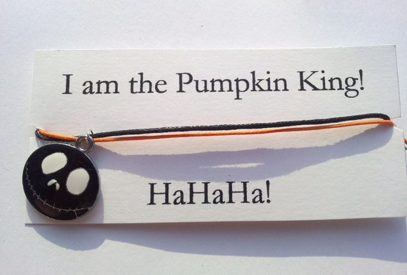 Nightmare Before Christmas, I am the Pumpkin King friendship bracelet on waxed cotton cord