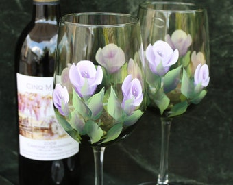 Hand Painted Wine Glass - Lavender and White Roses on Olive Green glass (Set of 2)