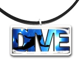 Dive, scuba diver, handmade glass tile pendant, blue and black, ocean waves, underwater
